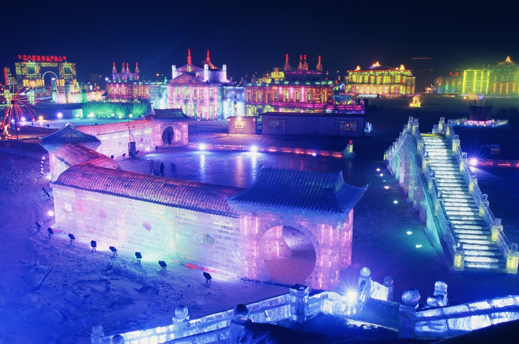 January 2005, Harbin, Heilongjiang Province, China --- Ice and Snow World at Harbin Ice Sculpture Festival --- Image by © Redlink/Corbis