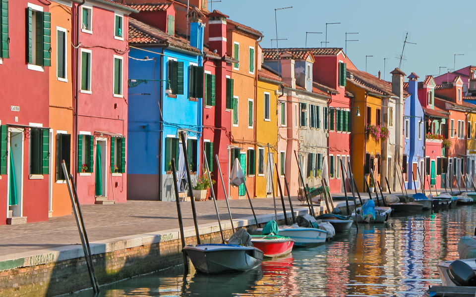 Colourful Houses Beside Burano's Grand Canal.