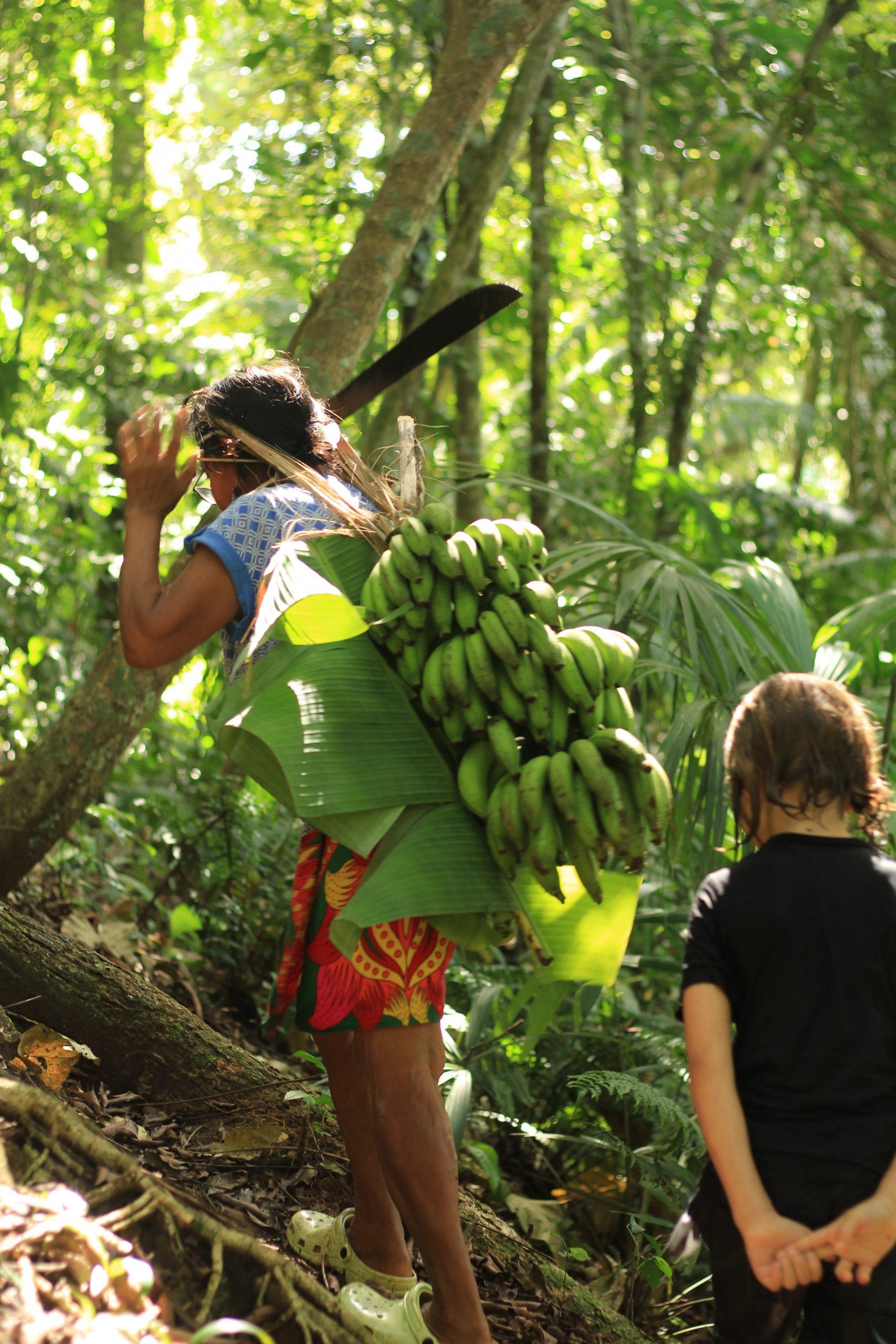 Luz, abriéndose paso en el bosque, mientras recolecta la materia prima para sus artesanías y el sustento familiar.
